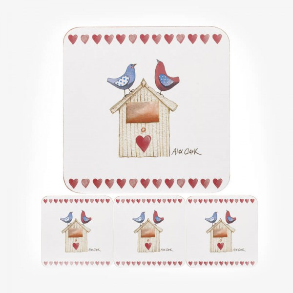 Alex Clark Love Birds COASTERS 4 pcs set