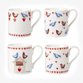Alex Clark Love Birds Set of 4 mugs