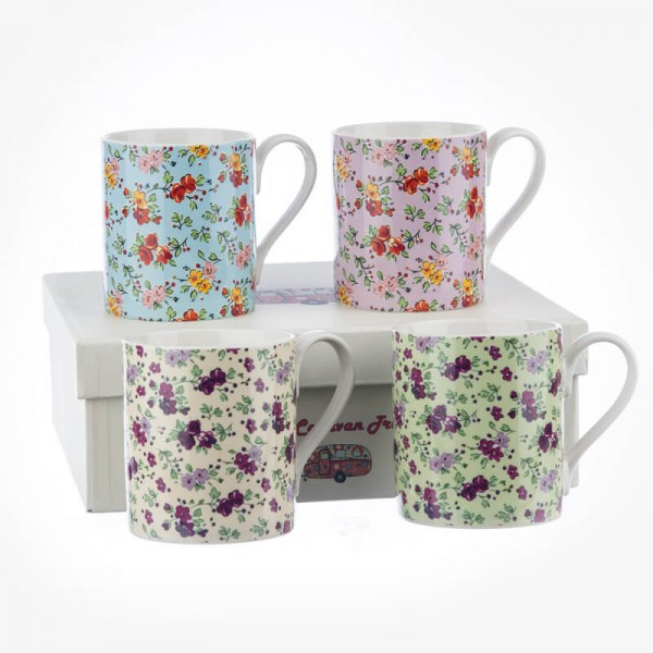 Caravan Trail Chintz Larch 4 Mug Gift Box