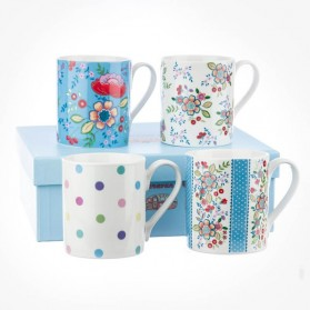 Caravan Trail Hippie Floral 4 mug gift box set