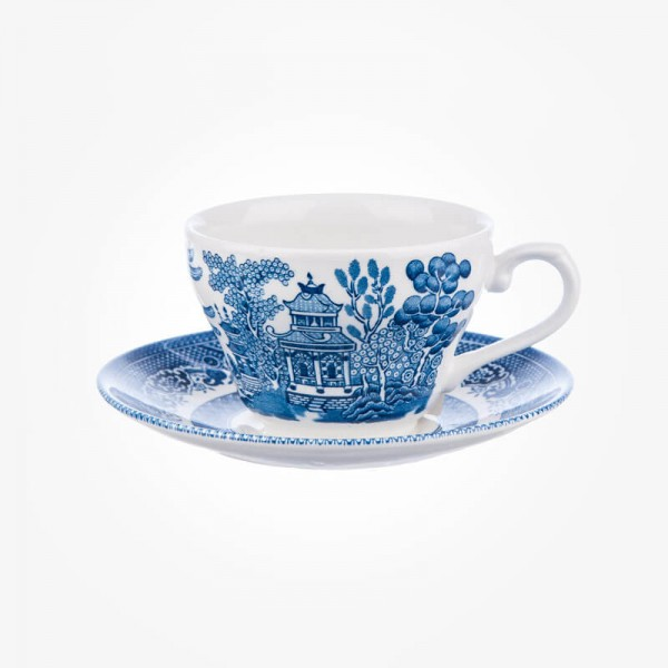 BLUE WILLOW Teacup and Saucer