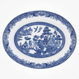 Blue Willow Mint Oval Dish 31cm