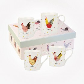 Alex Clark Rooster 4 Mugs Gift Box Set