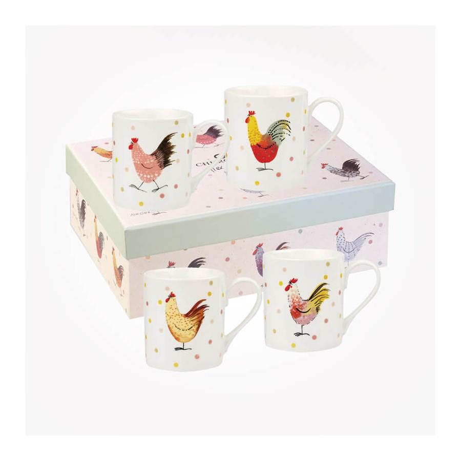 Queens Churchill Alex Clark Rooster 4 Mugs Gift Box