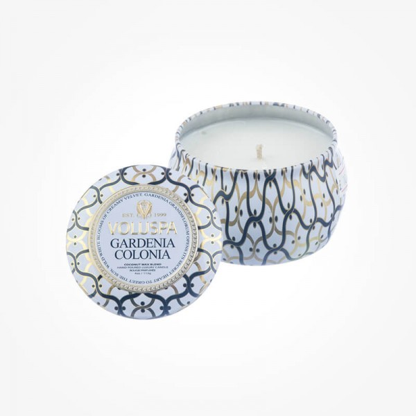 Voluspa Candles MAISON BLANC 4oz Mini Tin Gardenia Colonia Scented