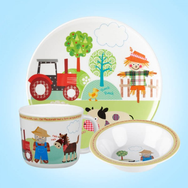 Little Rhymes Old McDonald 3 PCE Melamine dinner Set