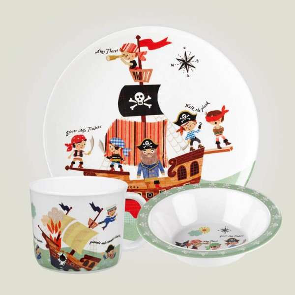Little Rhymes Pirates 3 Piece Melamine Set