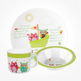 Little Rhymes The owl & Pussycat 3 Piece Melamine Set
