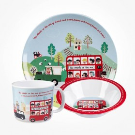 Little Rhymes Wheels On the Bus 3 piece Melamine dinner Set