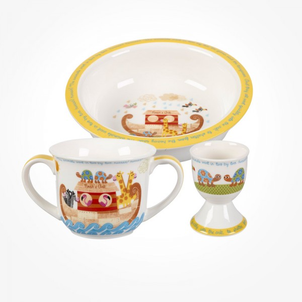 Noah's Ark mug, porringer and egg cup set