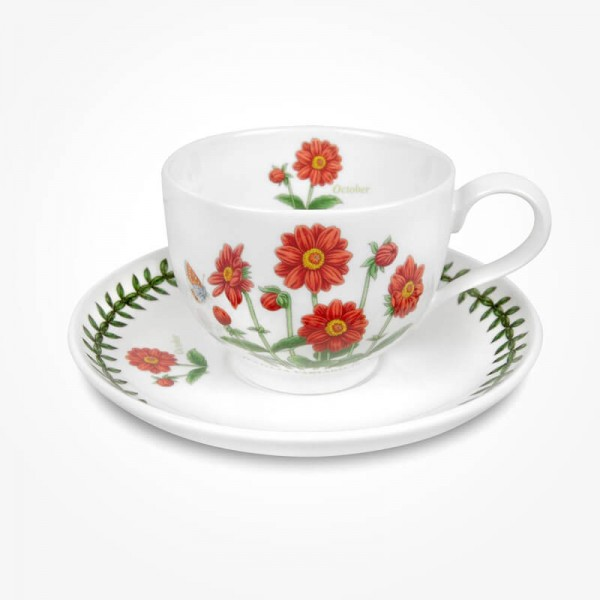 Portmeirion Flower of the Month October Teacup and Saucer Giftboxed
