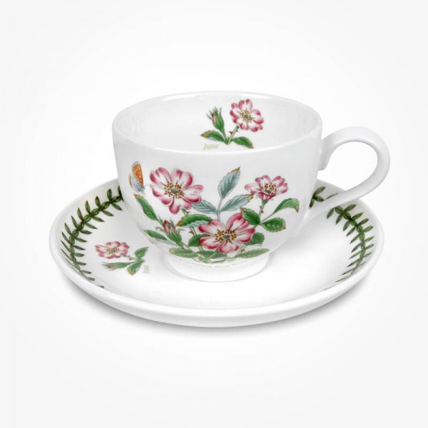Portmeirion Flower of the Month June Teacup and saucer Giftboxed