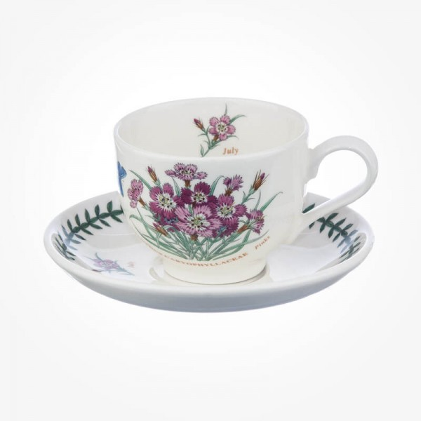 Portmeirion Flower of the Month July Teacup and Saucer Giftboxed