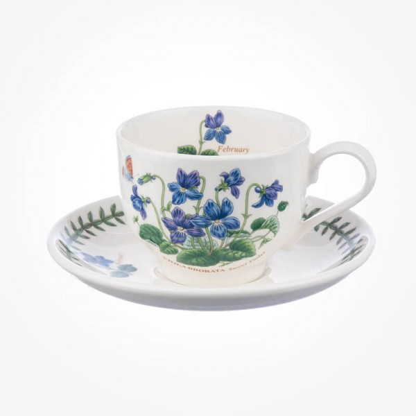 Portmeirion Flower of the Month February Teacup and Saucer Giftboxed