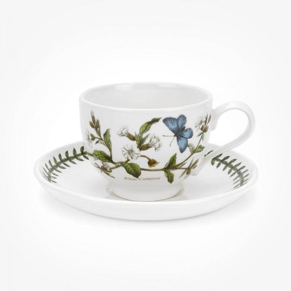 Portmeirion Botanic Garden Teacup/Saucer (T) New White Campion
