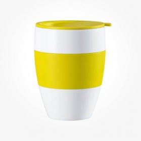 Koziol Aroma To Go Insulated Cup with lid solid mustard green