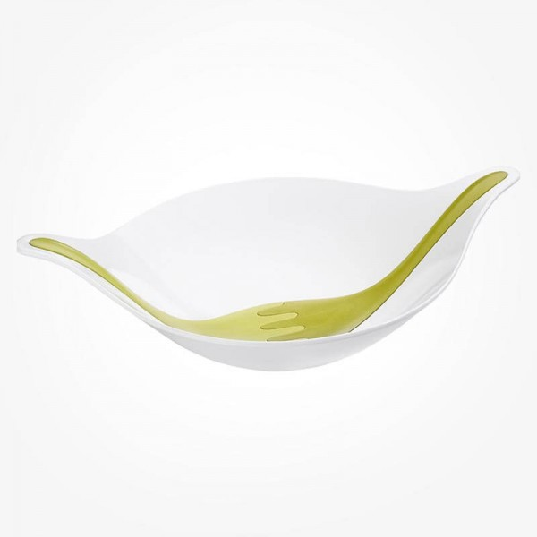 Koziol Salad bowl White with Green servers 4.5L XL
