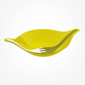 Koziol Salad bowl Mustard Green with servers 3L LEAF