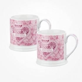 Churchill Made with LoveHeart ELM mug set of 2 GiftBox