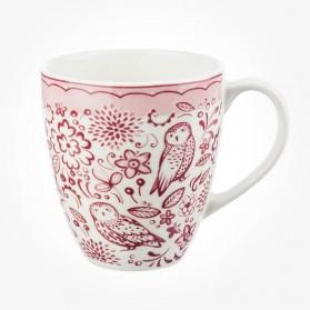 Churchill Caravan Penrose Hill Woodcut Owls Pink Mug