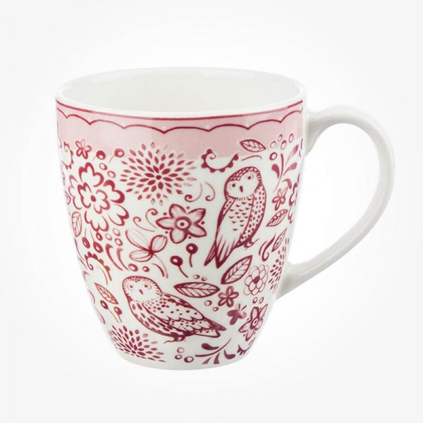 Churchill Caravan Penrose Hill Woodcut Owls Pink Mug