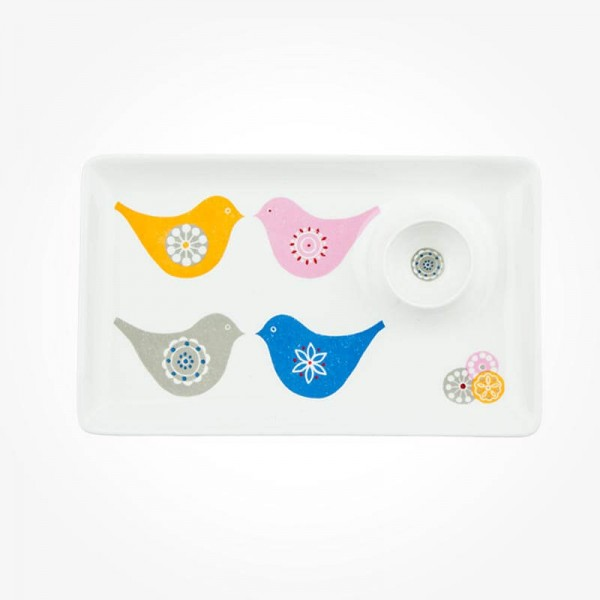 LOVE BIRDS Sandwich Plate with Egg Holder