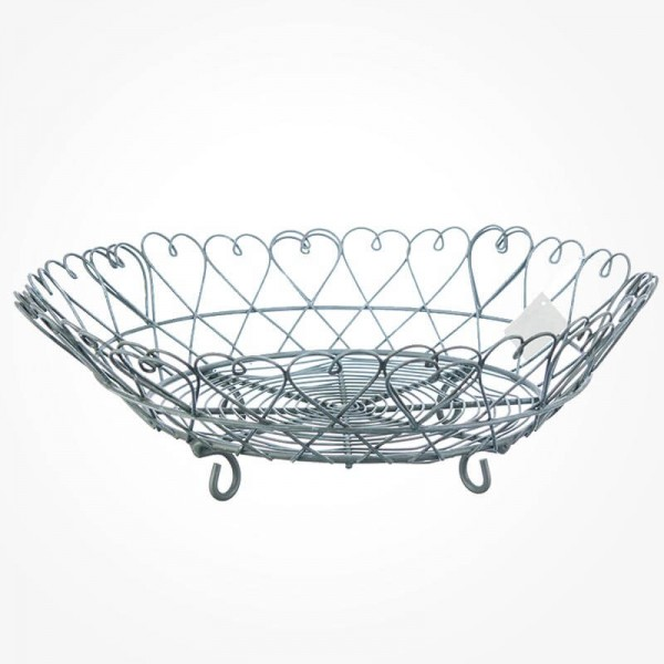 Round Wire Fruit Basket Bowl Plate Hearts