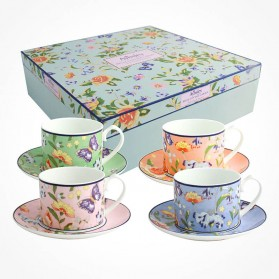 Cottage Garden 4 Teacups and Saucers Gift Box