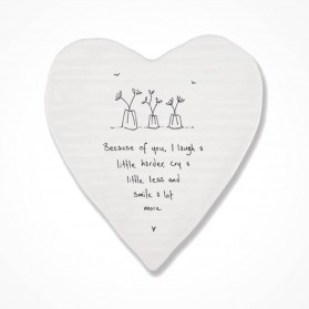 Porcelain Heart coaster Because of You