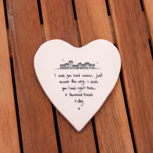 Porcelain Heart coaster Wish you lived nearer