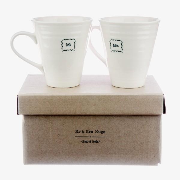 East of India Gift Boxed Mug set Mr & Mrs