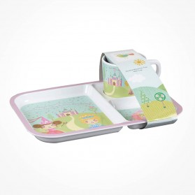 Cinderella divided Melamine Tray Cup set