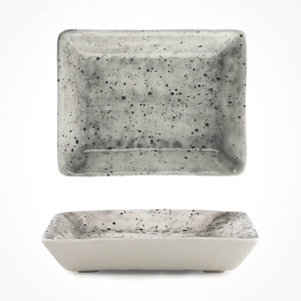 Hand-painted oblong dish-Speckled wash
