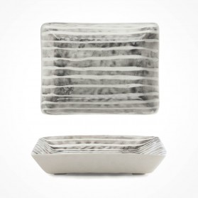 Hand-painted oblong Soap dish-Painted stripe