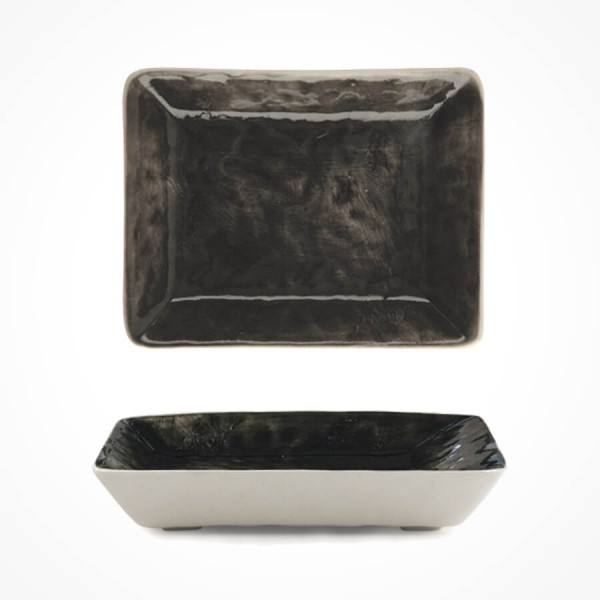 Hand-painted oblong Soap dish-Black wash