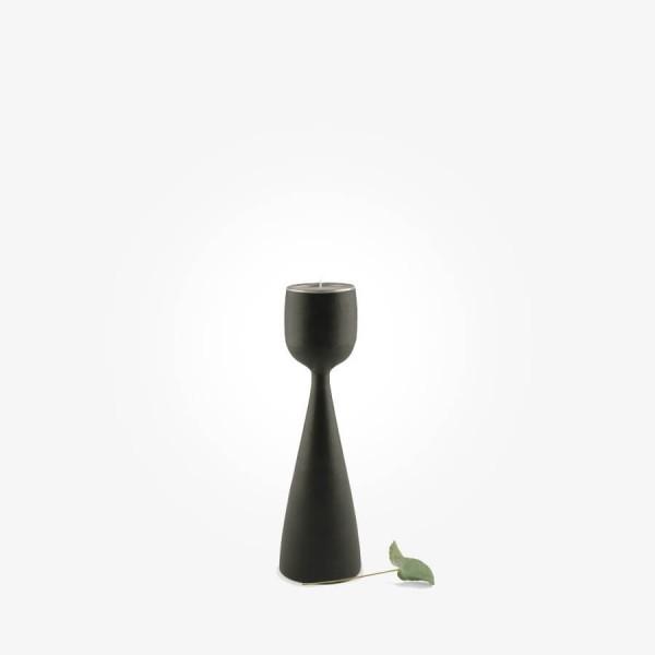 East of India Black wood tealight holder Small
