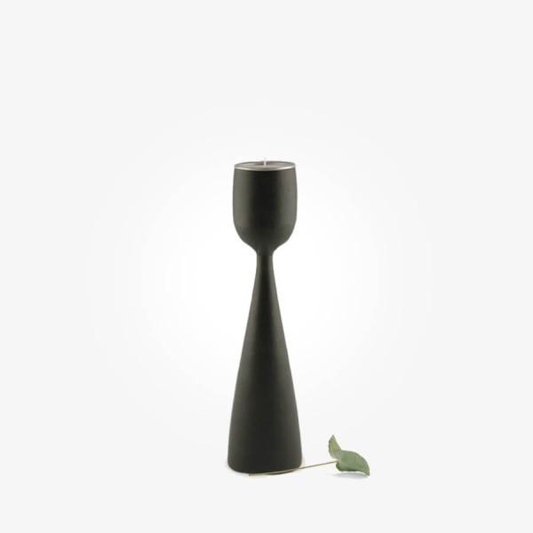 East of India Black wood tealight holder Medium