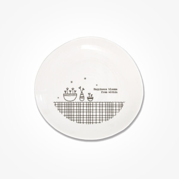 Cross Hatch plate 14.5cm Happiness Blooms from within