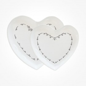 Set of 2 heart plates Gift Box
