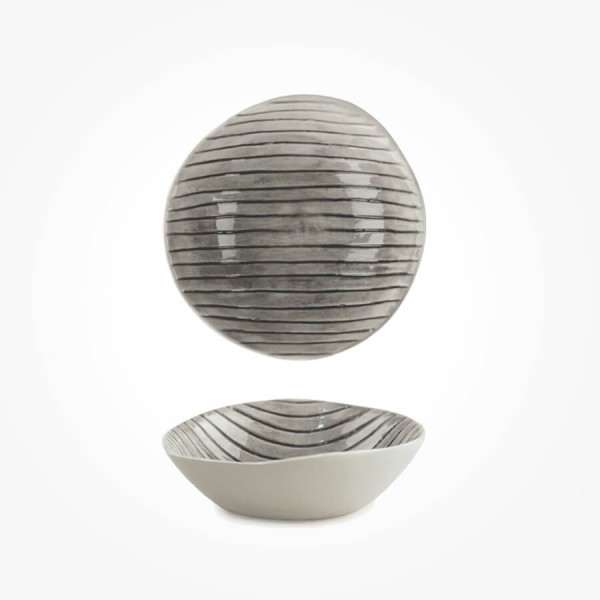 Hand Painted Bowl Scratched Lines Medium