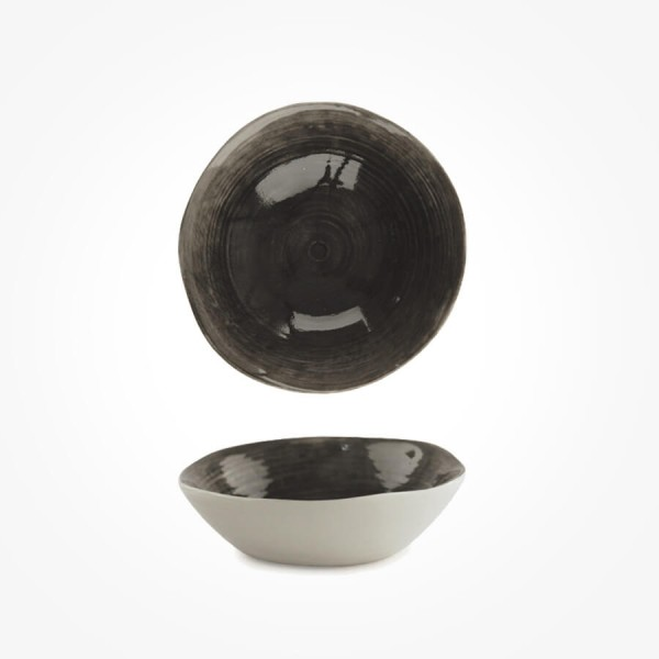 Hand Painted Bowl Black wash Medium