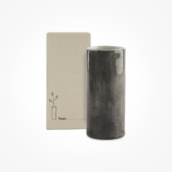 Hand painted Vase Black Wash Medium Gift Box