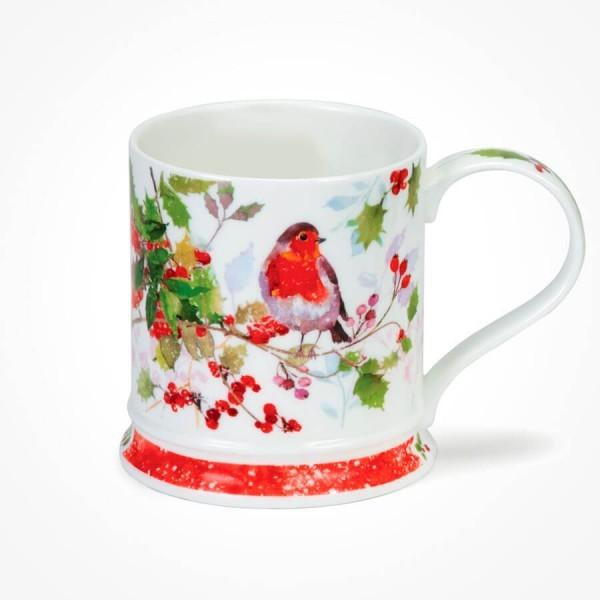 Dunoon IONA Shape Christmas Robin Holly