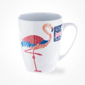 Queens Couture Paradise Birds Flamingo Oak Mug