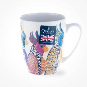 Queens Couture Paradise Birds Parakeets Oak Mug