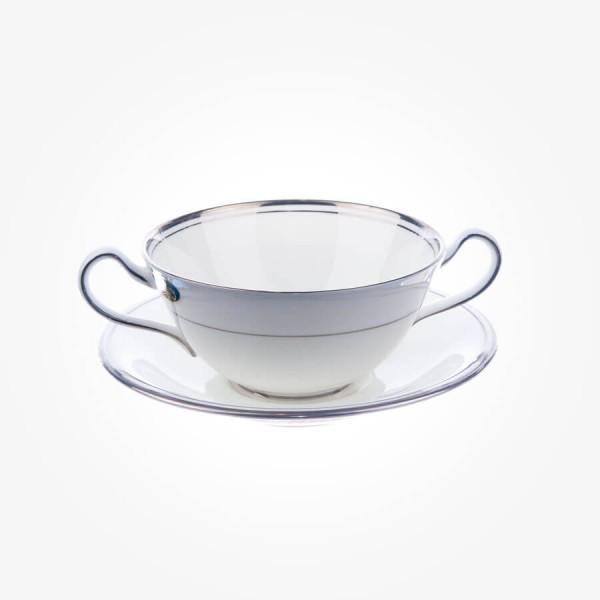 Aynsley Corona Platimnum Cream Soup & Stand