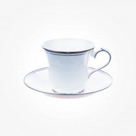 Aynsley Corona Platinum Teacup & Saucer Lancaster