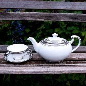 Aynsley Empress White & Platinum Teapot