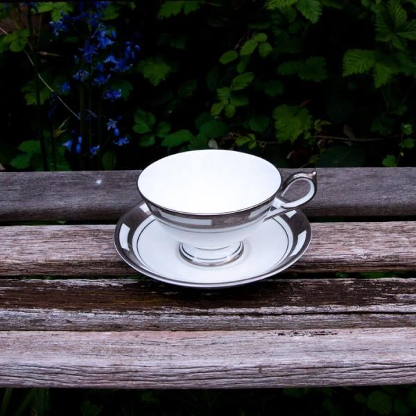 Empress White Platinum Athens Teacup and Saucer