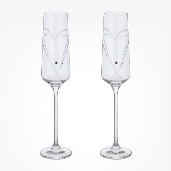 Dartington Glitz Romance Champagne Flutes Pair